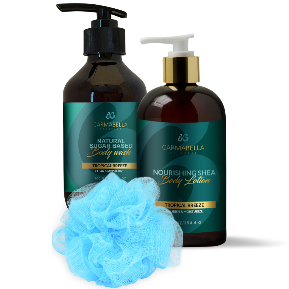 Tropical Breeze (Pineapple Coconut) Scent Lotion, Body wash and bath poof set | CarmaBella Skincare Natural Skincare