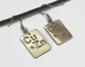 Brass Periodic Table Fish Hook Dangle Earrings