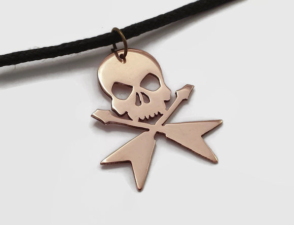 Skull & Crossed Guitar Pendant Necklace