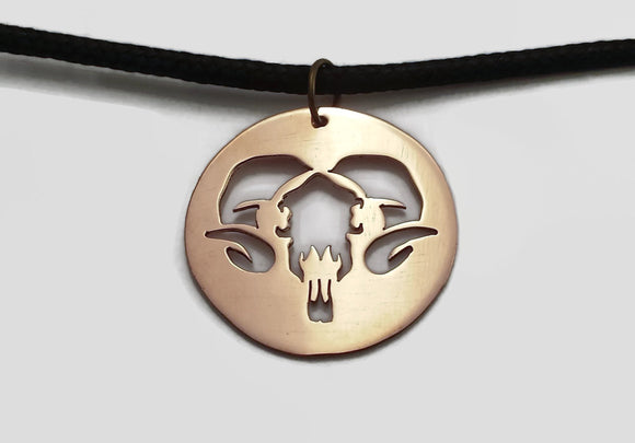 Horned Goat Skull Pendant Necklace