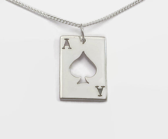 Sterling Silver Ace Of Spades Necklace