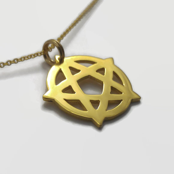 Tiny 24 Carat Gold Plated Wiccan Pentagram Pendant Necklace
