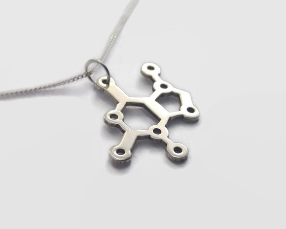 Sterling Silver Chocolate Molecule (Theobromine) Necklace