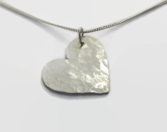 Hammer Finished Sterling Silver Heart Necklace