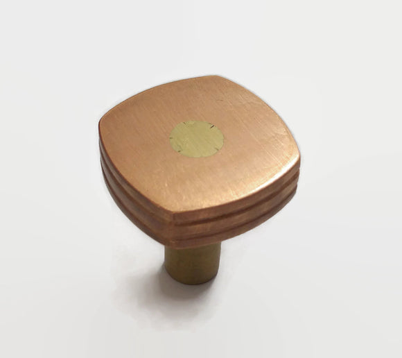 Single Copper Drawer Pull With Brass Stem