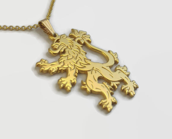 24 Carat Gold Plated English Lion Necklace