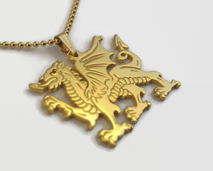 24 Carat Gold Plated Welsh Dragon Necklace