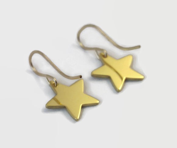 24 Carat Gold Plated Star Earrings