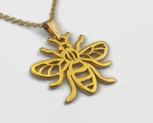 24 Carat Gold Plated Manchester Worker Bee Necklace
