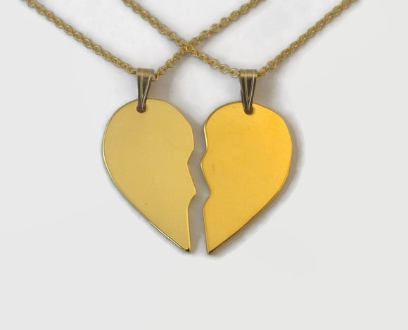 Matching 24 Carat Gold Plated Half Heart Necklaces