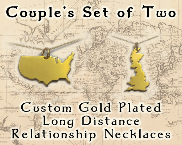 Couples 24 Carat Gold Plated Long Distance Relationship Necklace Set