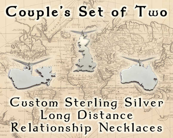 Couples Sterling Silver Long Distance Relationship Necklace Set