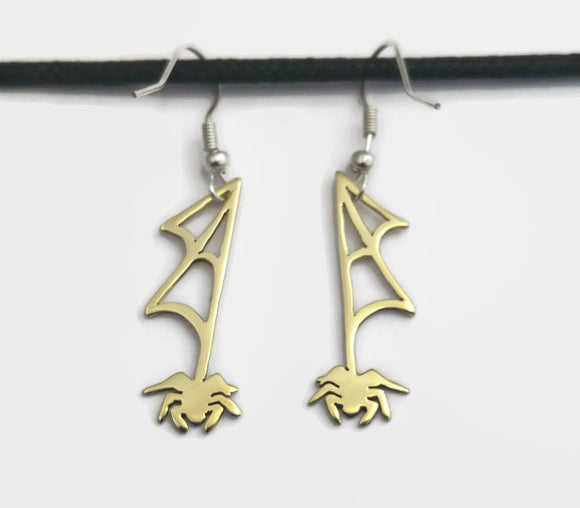 Dangling Spider Fish Hook Earrings