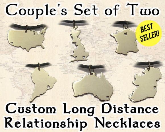 Couples Long Distance Relationship Necklace Set