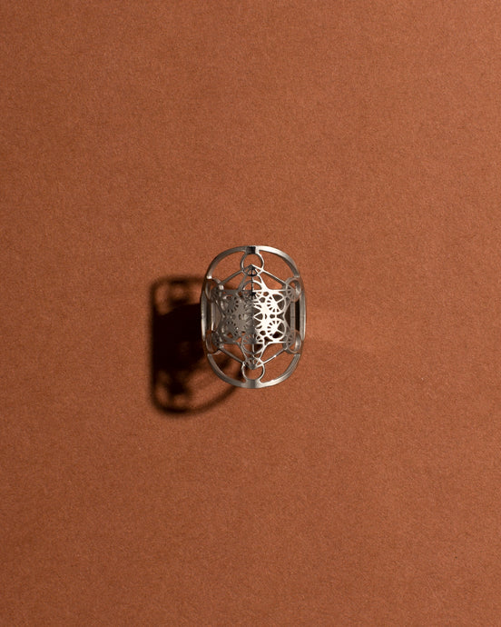 Silver Sacred Geo Ring - Metatron Cube