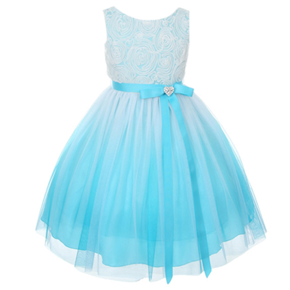 SLEEVELESS OMBRE ROSETTE BODICE WITH MESH SKIRT AND HEART SHAPE RHINESTONE BROOCH