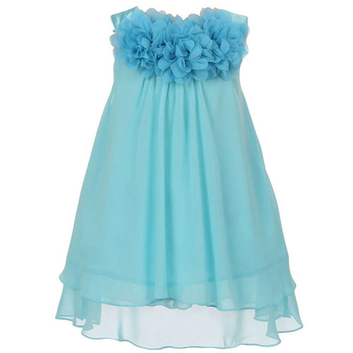 CHIFFON DRESS WITH MESH FLOWERS