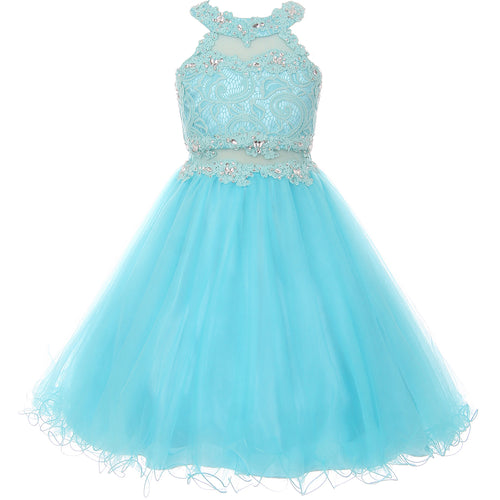 HALTER NECK RHINESTONES LACE BODICE ILLUSION WAIST TULLE WIRED SKIRT