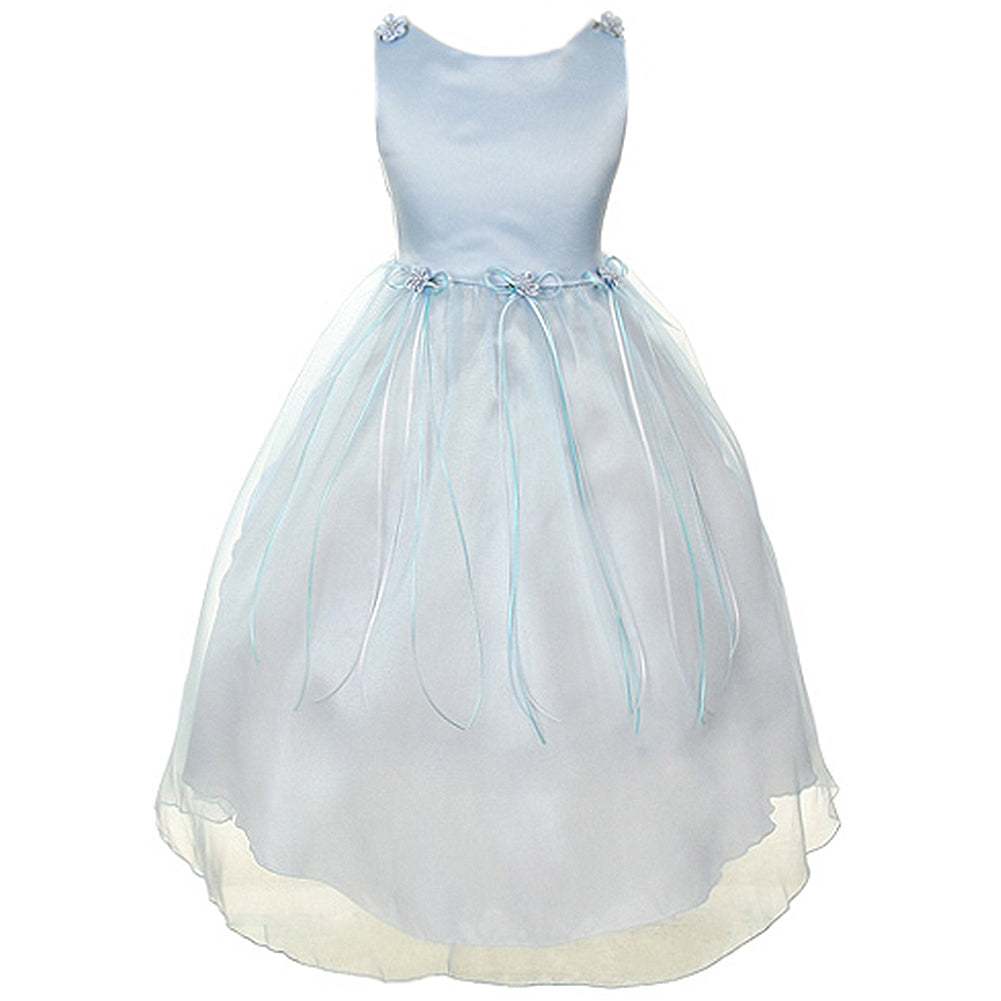 SATIN ORGANZA DRESS WITH FLOWER RIBBONS BROOCH ON WAISTLINE