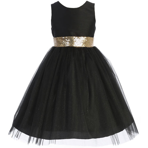 CrunchyCucumber Gold Sequin V-Back Big Bow Girl Dress
