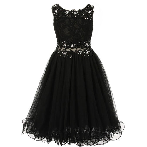 SLEEVELESS LACE BODICE WIRED TULLE SKIRT WITH RHINESTONES ON THE NECKLINE AND WAISTLINE