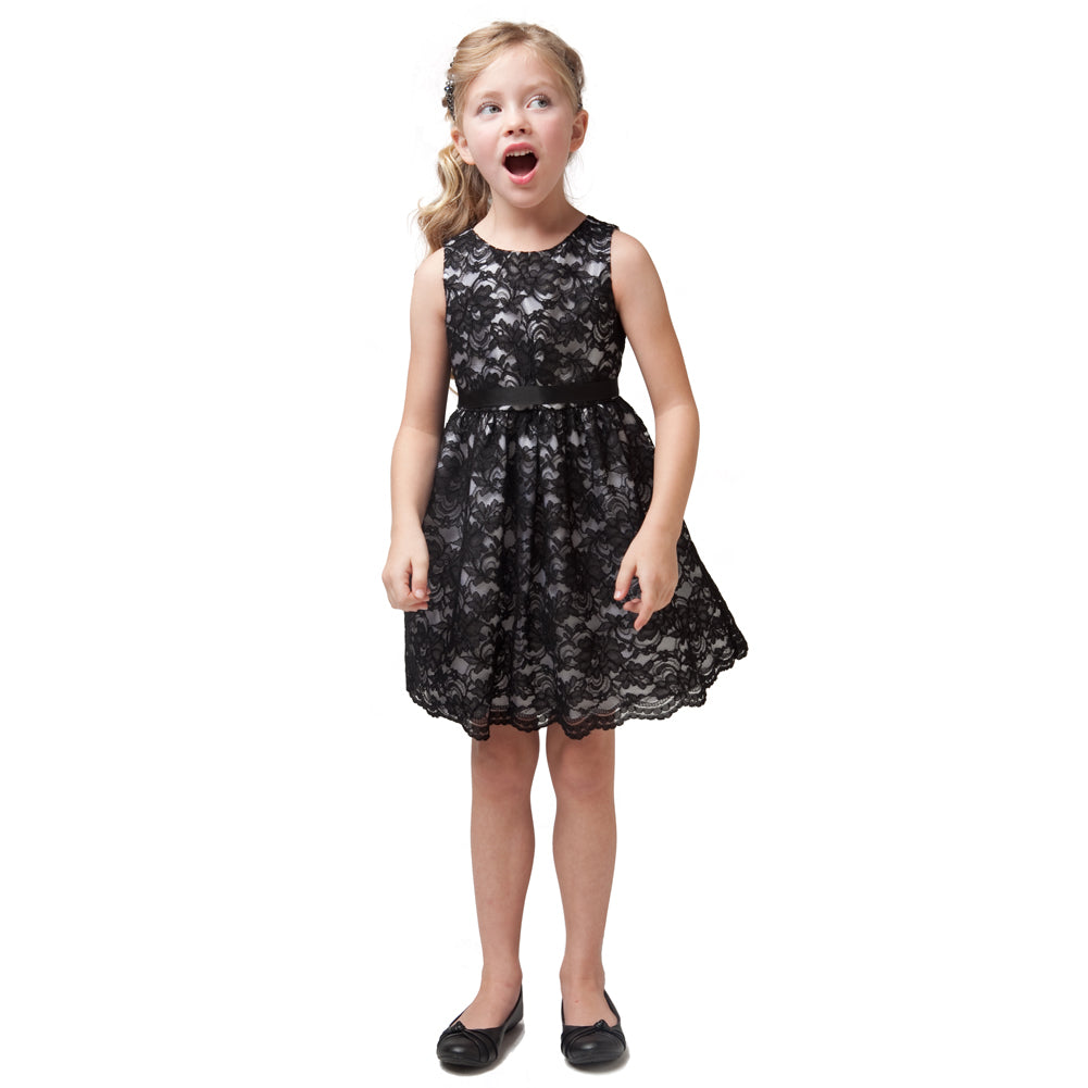 BLACK SIMPLE CLASSIC LACE GIRL DRESS WITH SATIN RIBBON