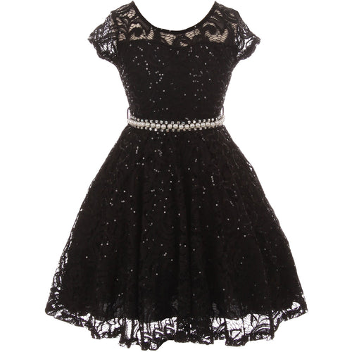 CAP SLEEVE GLITTERS FULL LACE DRESS