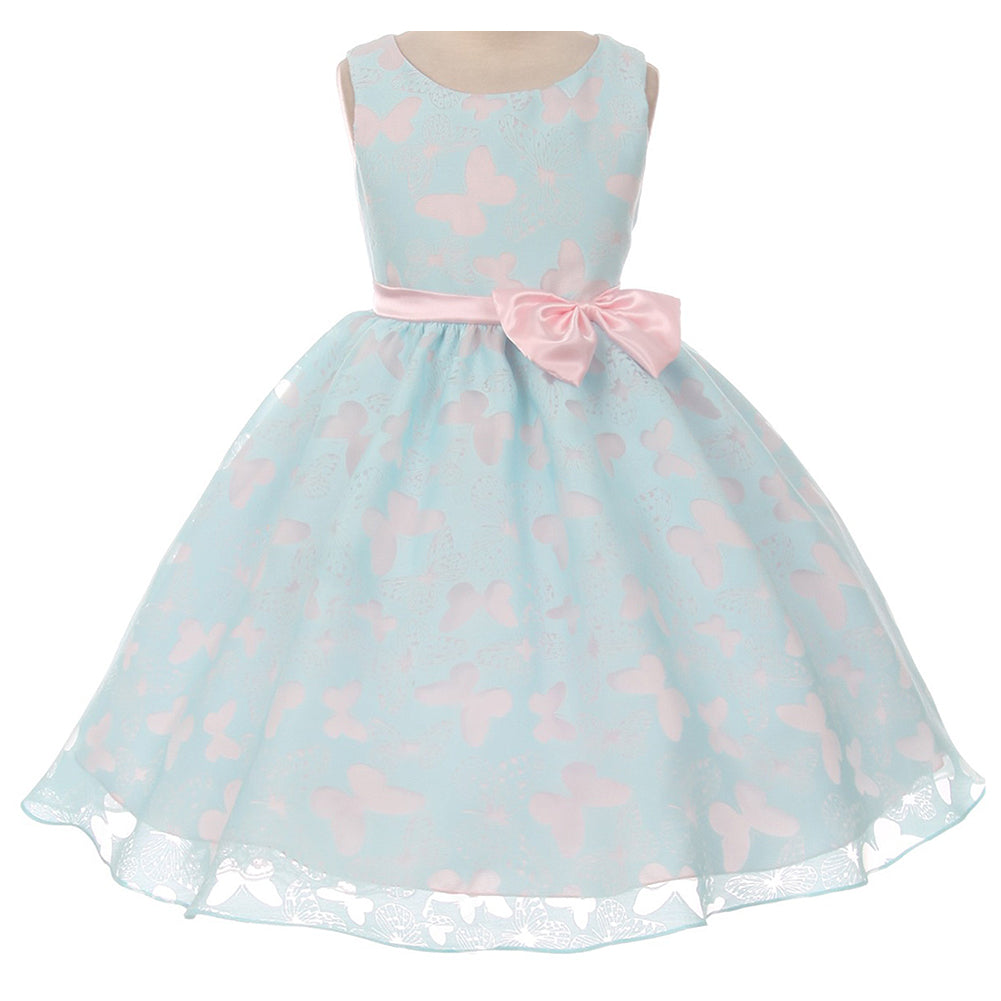 BUTTERFLY DESIGN TWO TONE ORGANZA DRESS WITH SATIN BOW AND SASH
