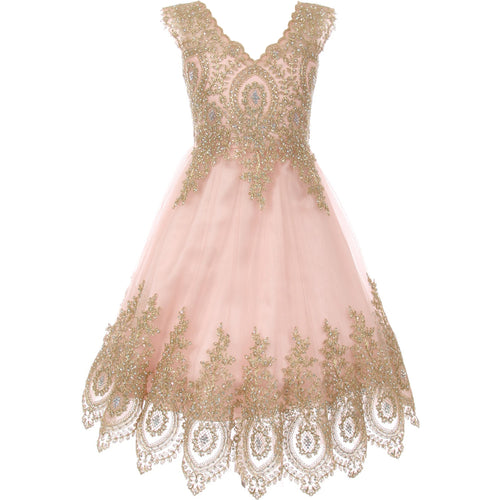 GOLD COILED LACE BODICE A LINE V NECK GIRL DRESS