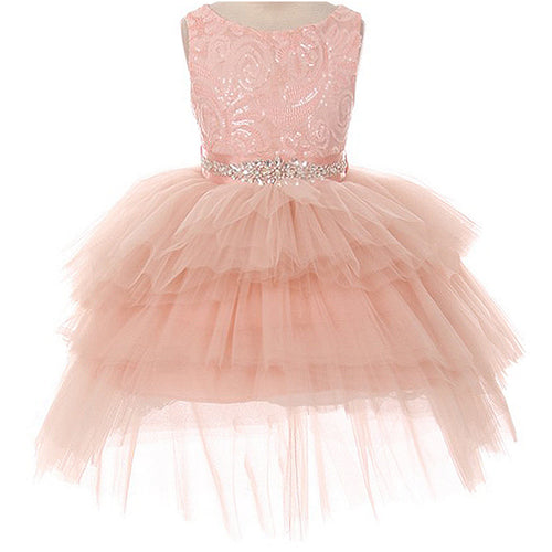SEQUINS BODICE TIERED TUTU HIGH LOW MINI SKIRT AB STONE SATIN SASH