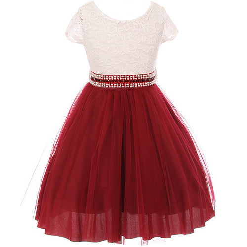 CAP SLEEVE LACE TOP TULLE SKIRT WITH RHINESTONES BELT