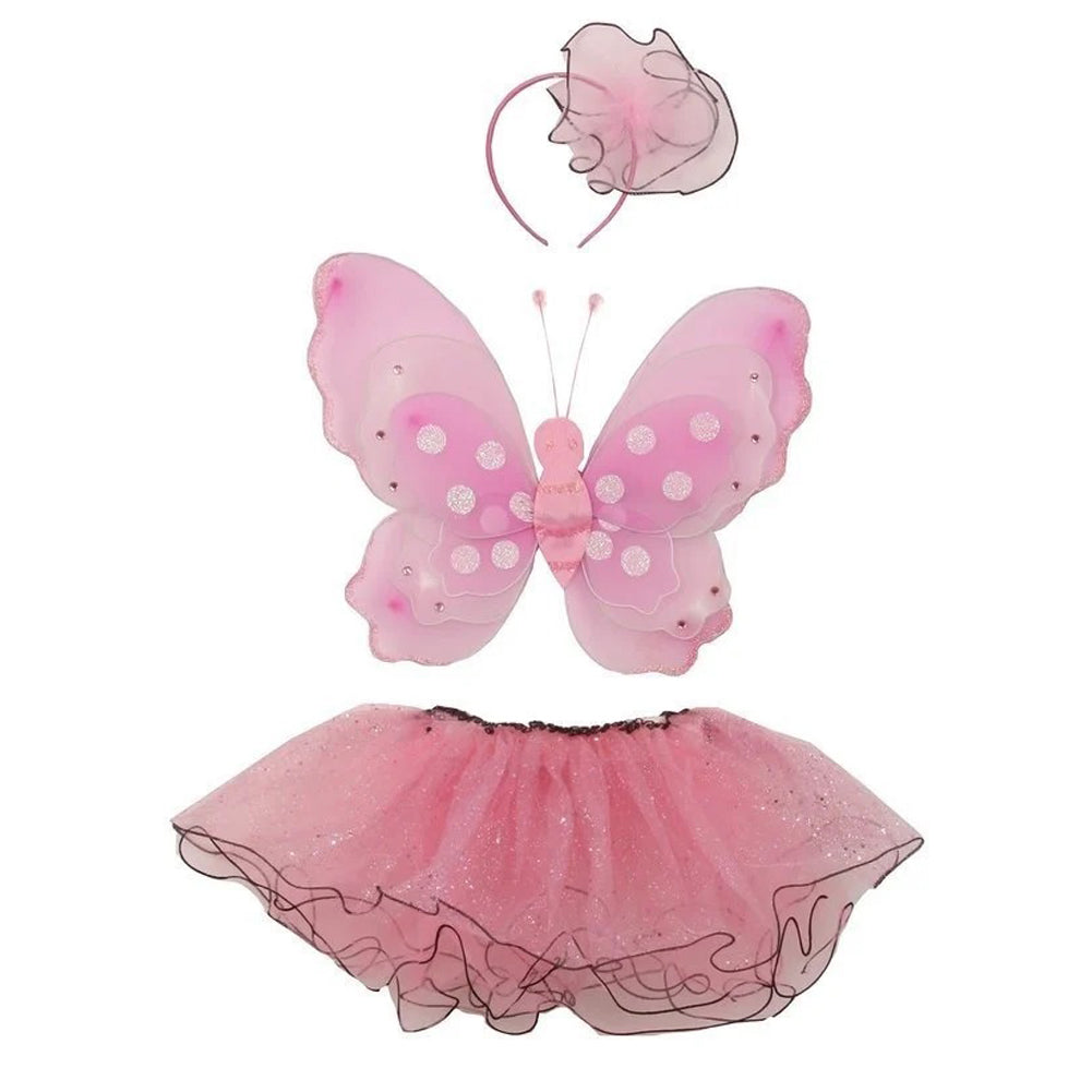 3-PIECE SET BUTTERFLY WING HEADBAND AND GLITTER WIRED TULLE TUTU SKIRT