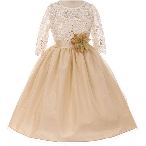 SEQUINS LACE ILLUSION BODICE TULLE FLOWER SATIN WAIST TULLE SKIRT