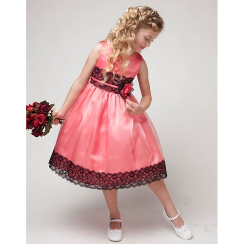 BLACK LACE TRIM ORGANZA OVERLAY SATIN GIRL DRESS WITH FLOWER BROOCH