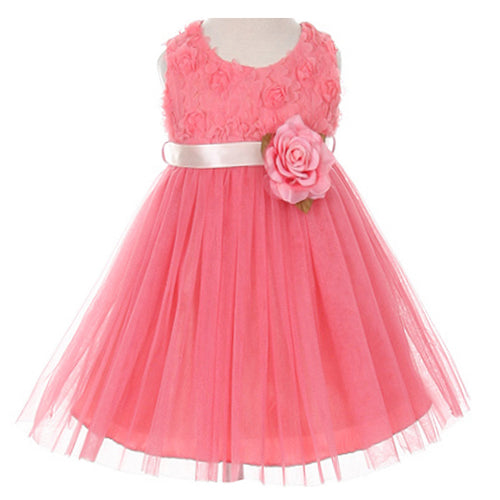 ROSETTE BODICE SATIN SASH TULLE SKIRT FLOWER BABY GIRL DRESS