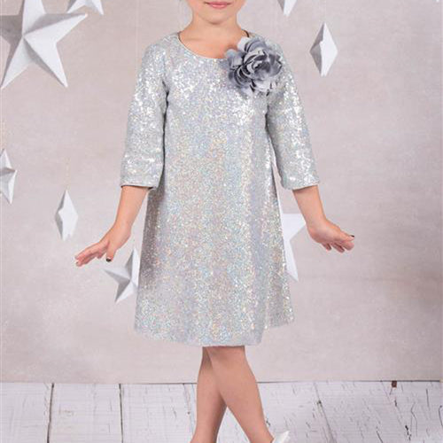3/4 SLEEVE SPARKLING SEQUIN GIRL DRESS