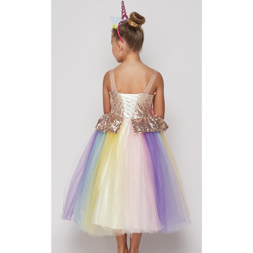 SEQUINS BODICE RAINBOW TULLE SKIRT WITH A UNICORN HEADBAND