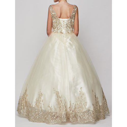 GOLD SATIN CORDED EMBROIDERY TULLE OVERLAY SATIN SKIRT LONG GOWN