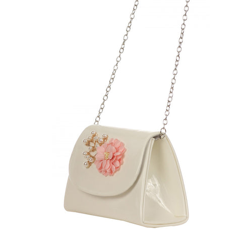 SHOULDER BAG WITH DECORATIVE FLOWER AND PEARLS