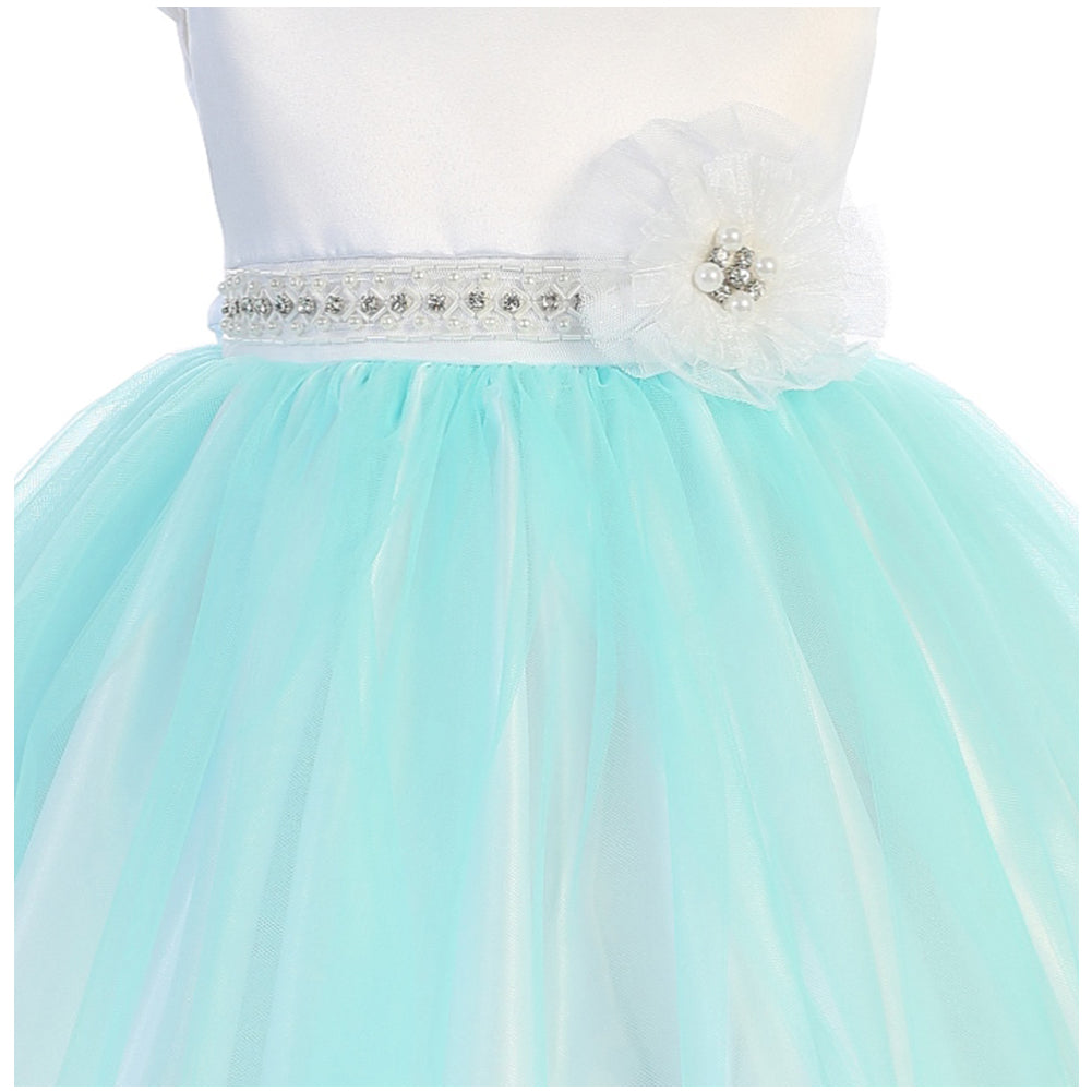 Classic Cap Sleeve Two Tone Satin Bodice Tulle Skirt