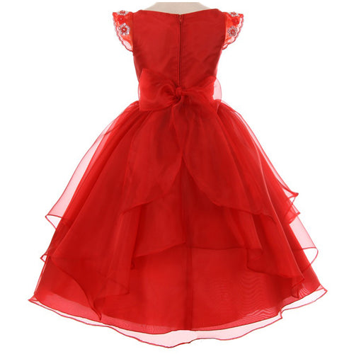 FLORAL BEADED WAIST AND SLEEVES HANDKERCHIEF RUFFLE ORGANZA SKIRT SATIN GIRL DRESS
