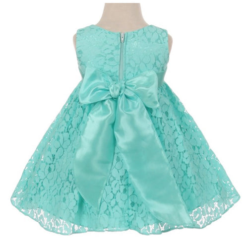 LACE BABY GIRL DRESS WITH ORGANZA FLOWER
