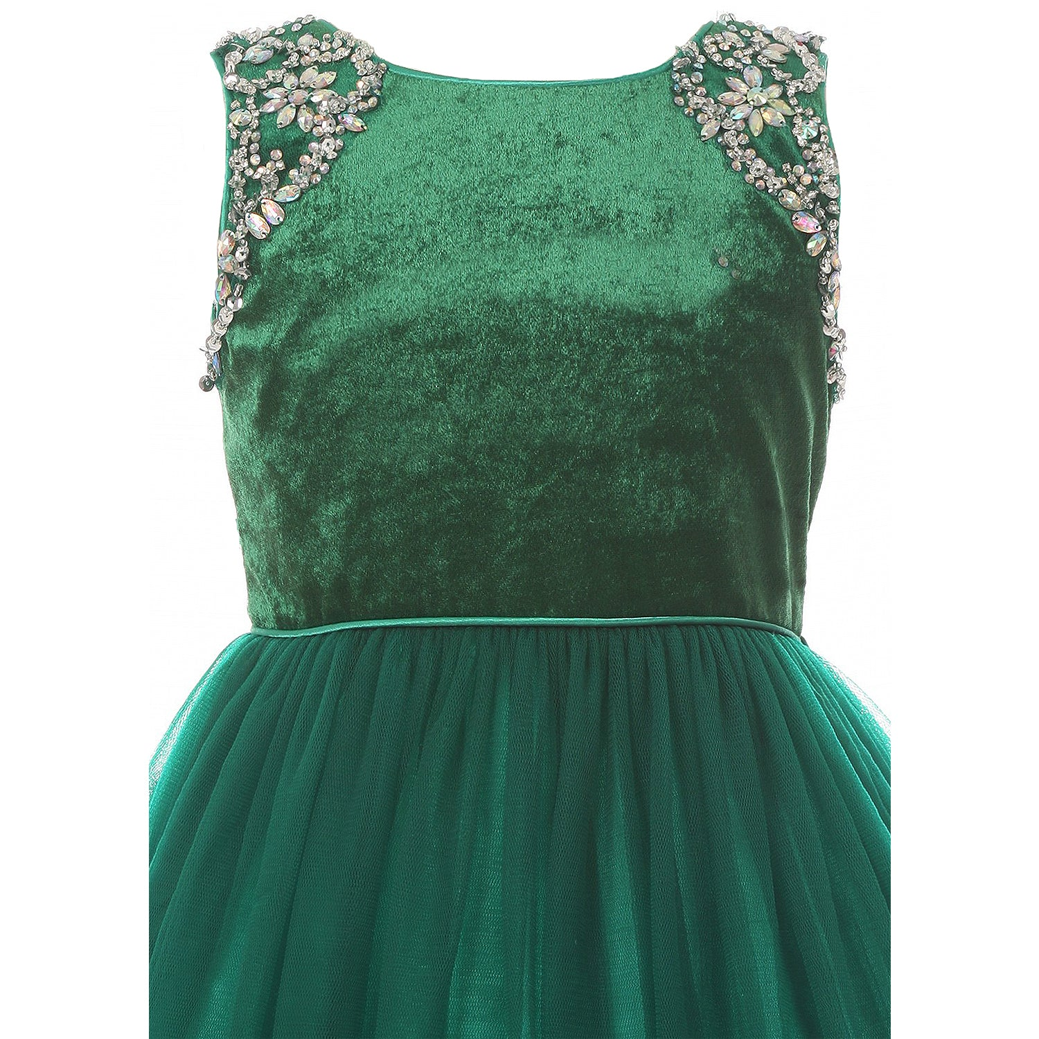 SHOULDER JEWEL BEADED APPLIQUES CORDED WAIST VELVET BODICE SOFT MESH SKIRT HOLIDAY DRESS
