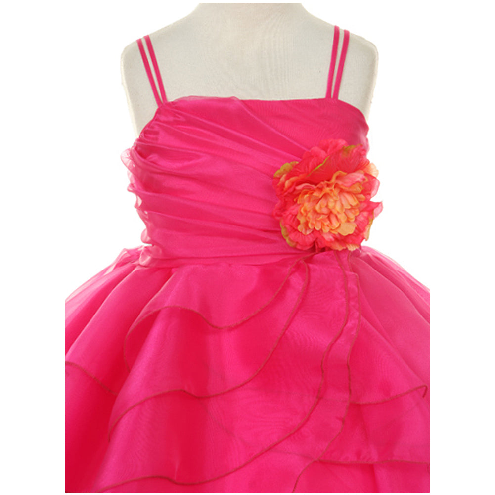 ASYMETRIC LAYERED RUFFLED DRESS WITH MATCHING SCARF AND FLOWER CORSAGE