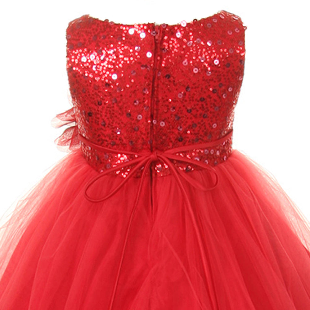GLITTER SEQUINED BODICE WITH DOUBLE LAYERED ILLUSION TULLE