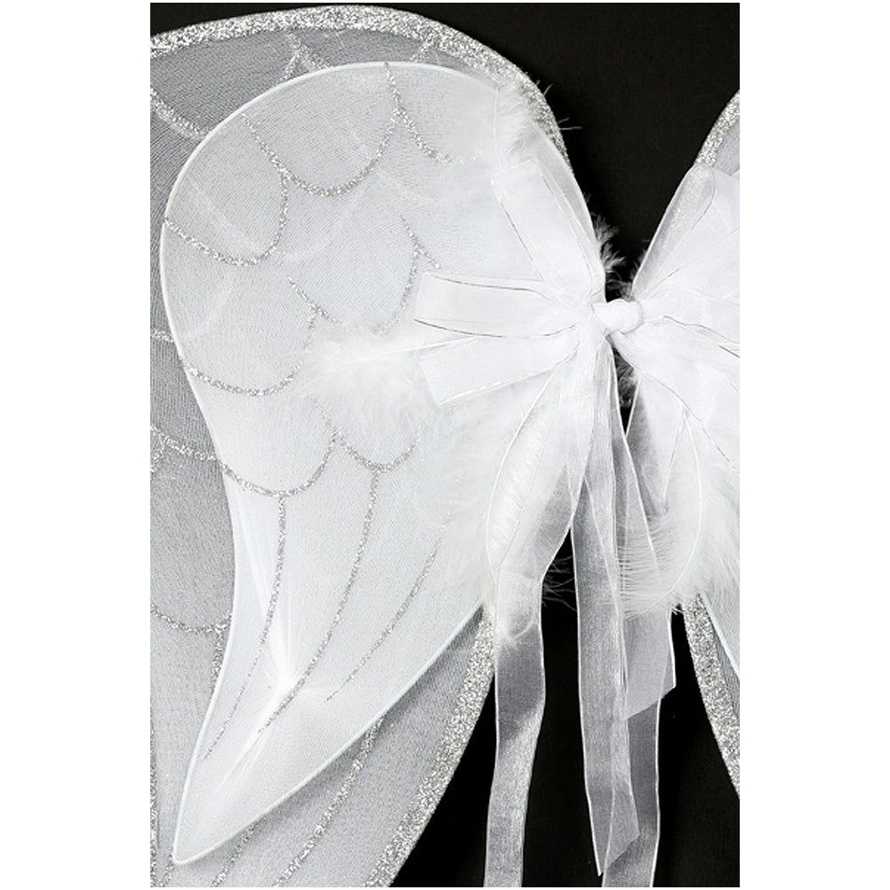 ANGEL WING WITH GLITTER FEATHERS AND BOWS