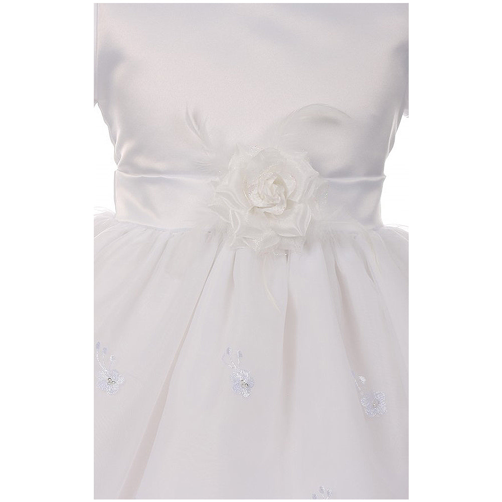 SATIN BODICE WITH RAISED FLOWERS EMBROIDERED ON ORGANZA SKIRT