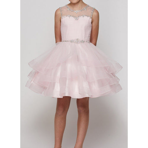 LAYERED ORGANZA DRESS WITH RHINESTONES AND CORSET BACK
