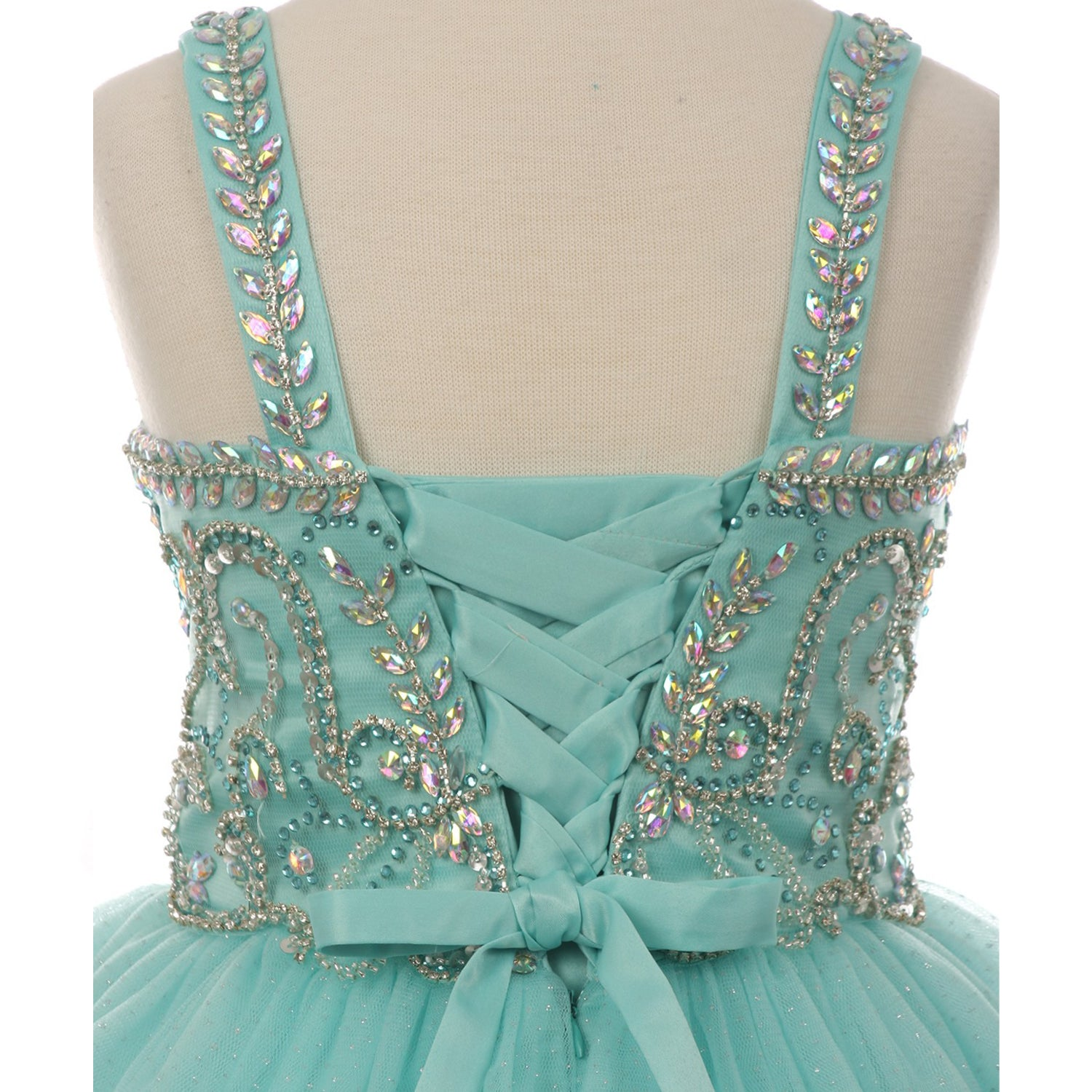 AB RHINESTONES BODICE CORSET BACK LONG DRESS WITH SHRUG