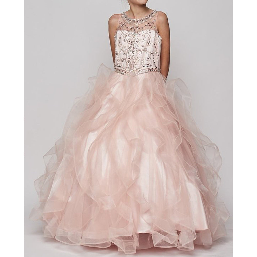 JEWEL BEADED BODICE ILLUSION NECKLINE RUFFLE SKIRT LONG GOWN